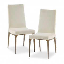 Cream Fabric Mid Century Dining Chair Bronze Metal Legs - Set 2