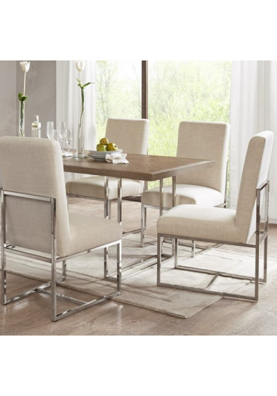 Natural Fabric Silver Base Modern Dining Chairs Set 2