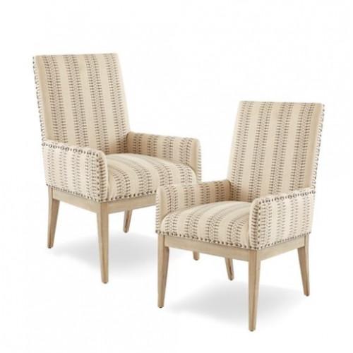 Natural & Brown Hue Print High Back Dining Arm Chair Set 2