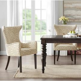 Tan & Cream Loop Design Fabric Dark Wood Leg Dining Chair Set 2