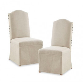 Beige Fabric Side Skirted Dining Chair Set 2