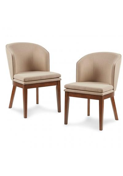 Mid Century Pecan Wood Sand Fabric Dining Chair Set of 2