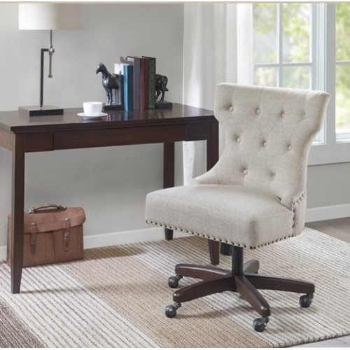 Beige Fabric Bronze Nail Head Armless Swivel Office Chair