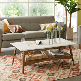 White Top Wood Mid-Century Coffee Table with Shelf