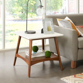 White Top Wood Mid-Century Accent Table with Shelf