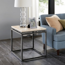 Cream Marble Dark Metal Square Accent Side Table