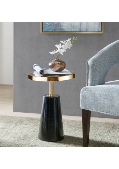Round Gold Top Accent Table Black Cone Base
