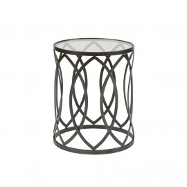 Black Metal Eyelet Glass Top Accent End Table