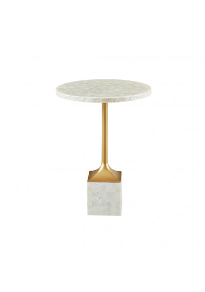 Round Mother of Pearl Top & Block Base Gold Leg Accent Table