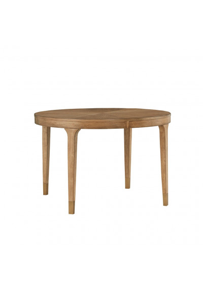Round Pecan Finish Transitional Dining Table
