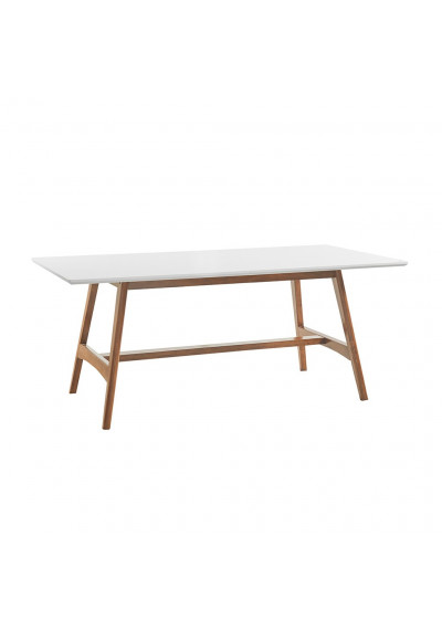 Rectangle White Top Natural Pecan Simple Base Dining Table