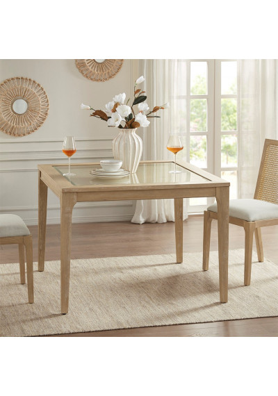 Light Wood Square Cane Center Under Glass Dining Table