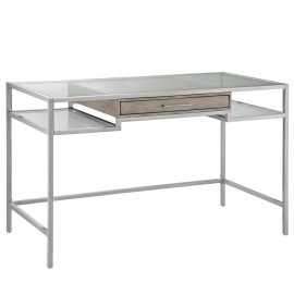 Silver Metal & Tempered Glass Floating Drawer Writing Desk
