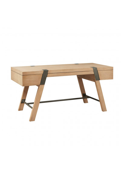 Natural Wood & Metal Industrial Style 3 Drawer Desk