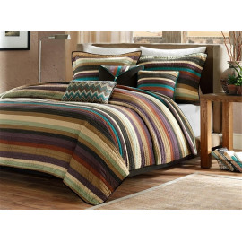 Lodge Cabin Striped Comforter Set Queen & King Size