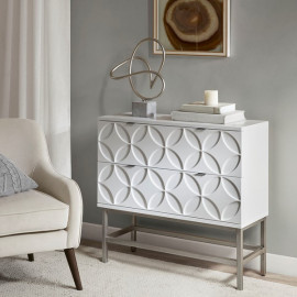 Glossy White Geometric Design Chest of Drawers