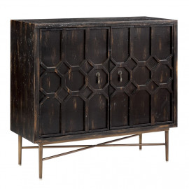 Dark Recycled Pine & Iron Honeycomb Design Accent Side Cabinet