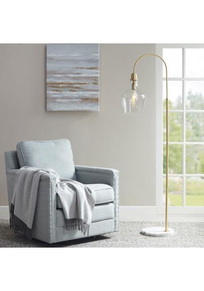 Bell Glass Shade Gold Body Floor Lamp White Marble Base