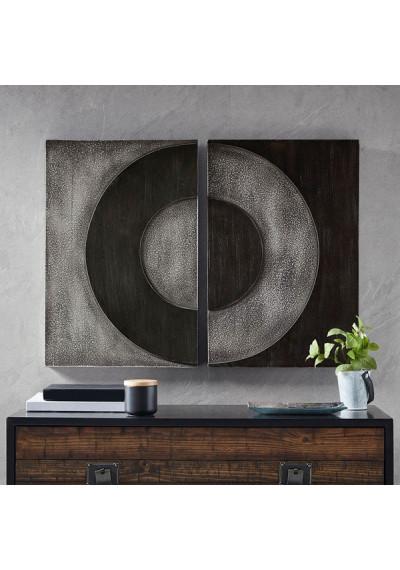 Black & Grey Circle Abstract 2 Piece Wood Box Wall Art