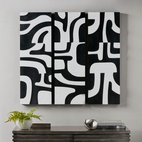 Black & White Abstract Wood 3 Piece Wall Art