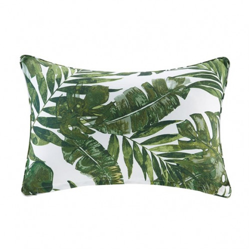 Green Palm Leaf Indoor Outdoor Oblong Pillow