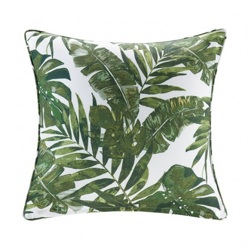 Green Palm Leaf Indoor Outdoor Pillow
