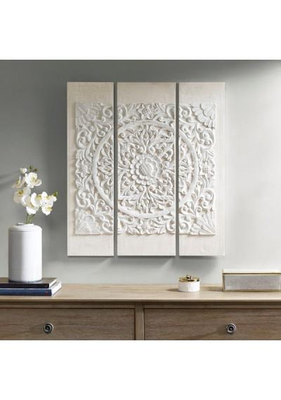 White Wood Mandala on White Canvas 3 Piece Wall Art