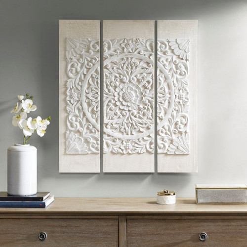White Wood Mandala on White Canvas 3 Piece Wall Art