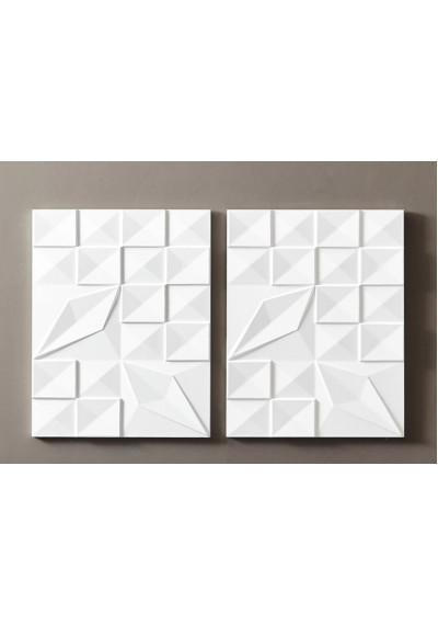 White Geometric Design Contemporary Wall Art Panels Set 2