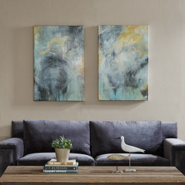 Blue & Gold Brush Stroke Abstract Canvas Wall Art