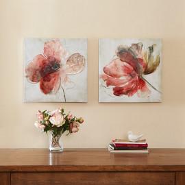 Red Flower Canvas 2 piece Wall Art