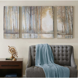 Forest of Trees in Golds & Greys 3 piece Canvas Wall Art