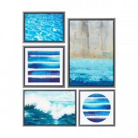 The Ocean Blue Set of 5 Framed Canvas Wall Art