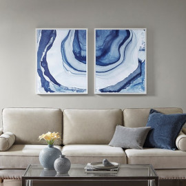 Agate Printed Design in Blues with White Frame Wall Art