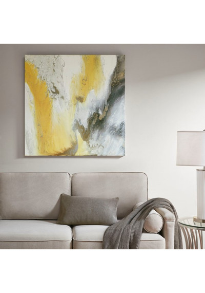 Yellow Abstract Canvas Wall Art Silver Foil Embellishments