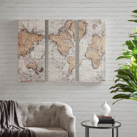 Textured Map of the World Canvas Wall Art Set 3