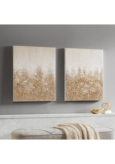 Gold Glitter Textured Canvas Wall Art Set of 2