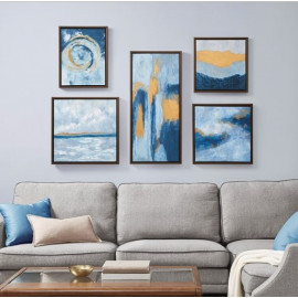 Blues & Golds Abstract 5 Piece Framed Wall Art