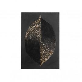 Gold Foil Embellished Leaf Design on Canvas Wall Art