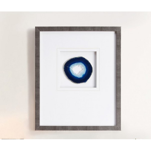 Blue Agate Stone Piece Framed Wall Art