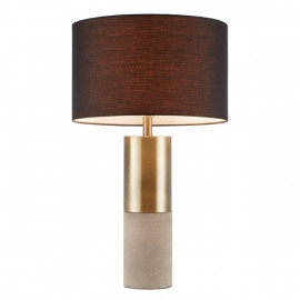 Gold & Stone Cylinder Table Lamp Black Shade
