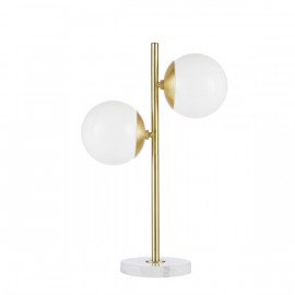 Modern Eclectic Gold Table Lamp White Ball Glass Shades