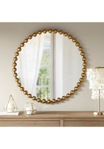 "Round Gold Baubles Iron Wall Mirror 36"""