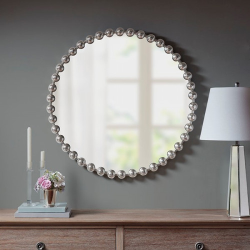 "Round Silver Baubles Iron Wall Mirror 36"""