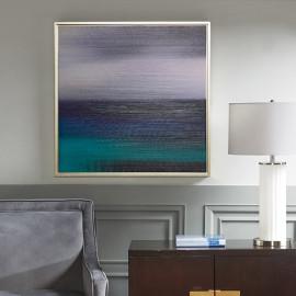 Contemporary Blue Sea Scene in Silver Frame Wall Art