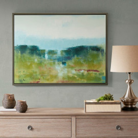 Impressionist Green Fields & Blue Sky Canvas in Frame