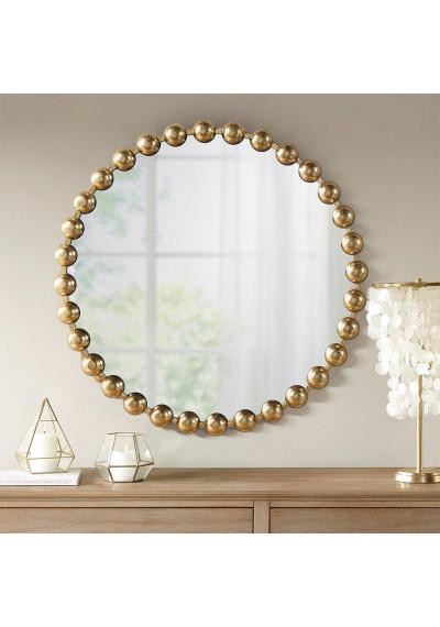 "Round Gold Baubles Iron Wall Mirror 27"""