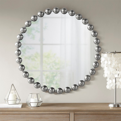 "Round Silver Baubles Iron Wall Mirror 27"""