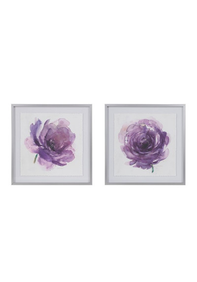 Purple Rose Print Silver Frame Wall Art Set of 2