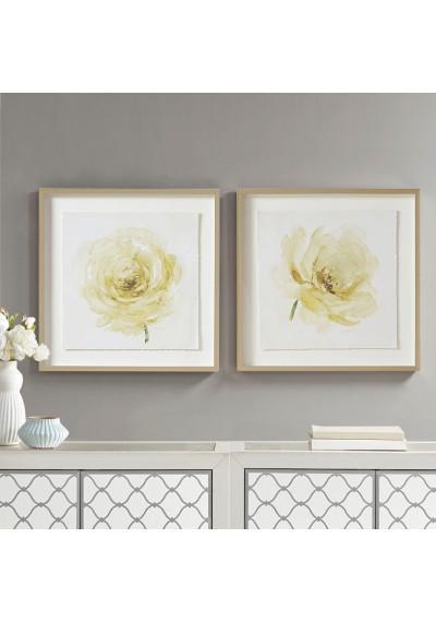 Light Yellow Ivory Rose Print Silver Frame Wall Art Set of 2